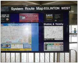 Wayfinding maps located in strategic locations can help to enhance station legibility for users.