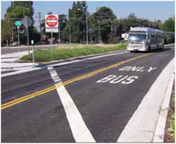 Bus only lanes at major transit hubs in Los Angeles speed access times for connecting services, reducing travel delays.