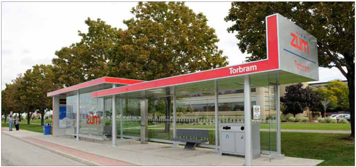 A heated bus shelter in Brampton provides real-time arrival information and provides waiting passengers with the choice of both internal and external waiting areas.
