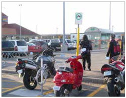 The prioritization of scooters and motorcycles at this GO Transit Station in Ajax helps to encourage the use of vehicles that require less space to accommodate.
