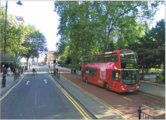 A contraflow lane in west London, permits buses to travel along a consistent linear route north and south through the city.