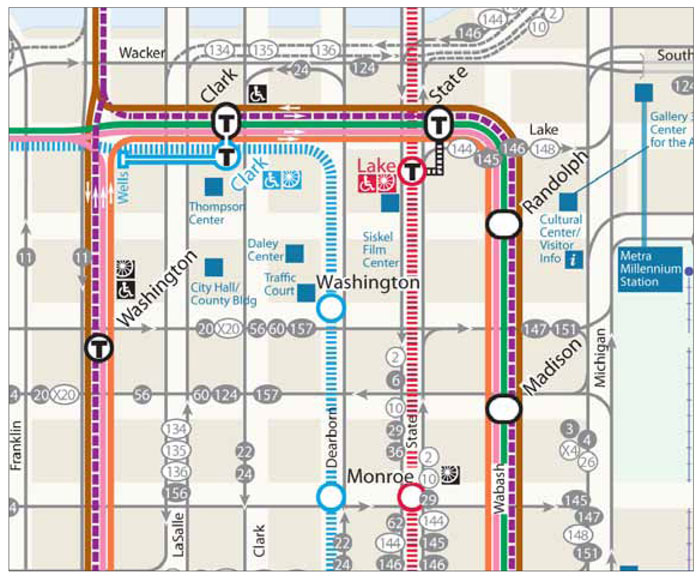 System maps should show points of interchange, destination points, connections to other transit modes and other amenities such as wheelchair access and bicycle parking.