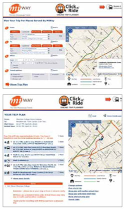 Mississauga's MiWay trip planner provides multiple route options, estimated journey times, maps if needed and a range of travel options such as accessible, fewest transfers or shortest walk.