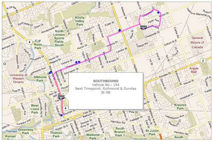 London Transit's website offers real-time trip planning information, showing the current location of buses on a particular bus route.
