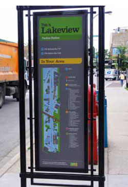 Wayfinding signage outside a station in Chicago helps to direct transit users to local destinations.
