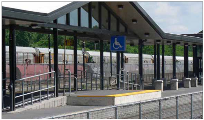 This sheltered, wheelchair-accessible platform at a GO Station is well integrated with the rest of the train platform.