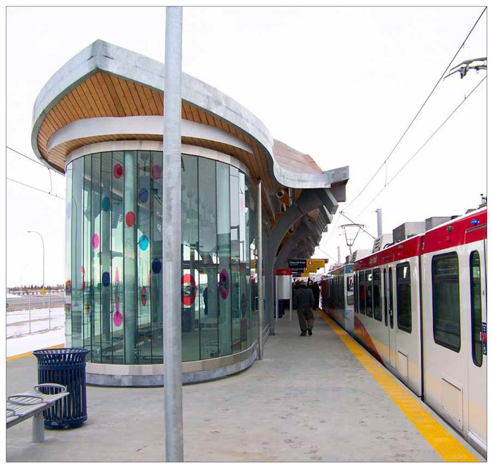 The use of glass in this shelter in Calgary, Alberta enhances natural surveillance and lighting.