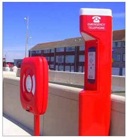 Emergency phones should be easy to locate and brightly coloured.
