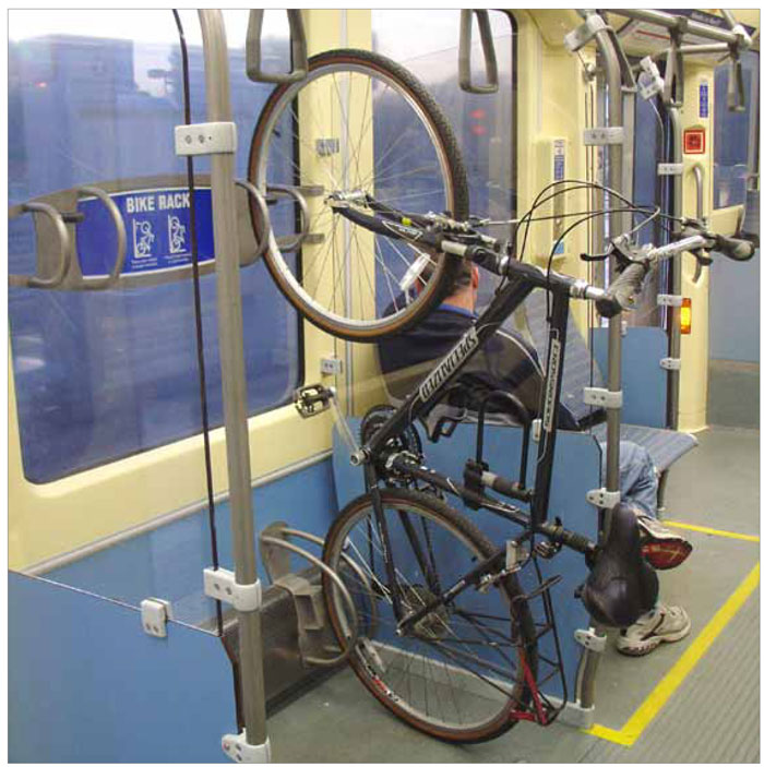 This LRT vehicle in Minneapolis has been designed to accommodate cyclists during all hours of the day.