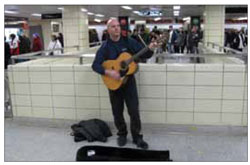 Performers in stations enhance the commuter experience.