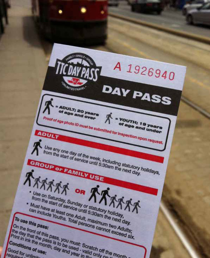 Family passes such as those provided by the Toronto Transit Commission are a great way of attracting family riders to use transit on weekends and holidays.