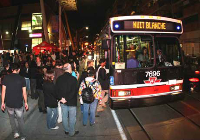 The Nuit Blanche art event in Toronto established a partnership with the TTC to offer a discounted price for unlimited travel on all regular TTC services as well as extended hours of operation for the subway.