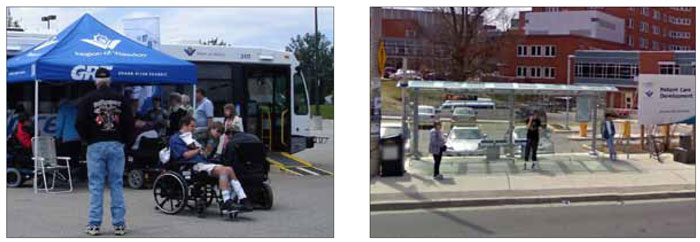 "Left: The GRT event, called ""RAMP"", provided people with mobility aids an opportunity to test the new low-floor buses and ask questions. Right: The new bus shelters along the iXpress routes contain EasyGO displays to provide real-time departure times for buses. Bike racks are provided adjacent to the shelters to encourage people to ride to the stops, which are spaced further apart than for non-express routes."