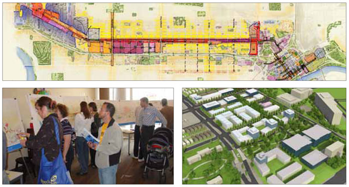 Left: The development strategy was the result of an extensive consultation process involving interactive open houses and focused round table sessions. Right: A series of six development types was developed, each with their own unique sets of principles that responded to different conditions along the corridor.