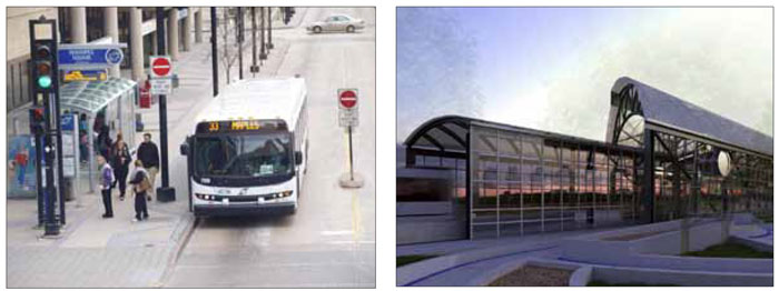Left: Low floor, low emission buses enhance accessibility along with the image of the transit system. Right: A new rapid transit network linking the downtown with a number of existing and planned mixed-use hubs will help to enhance access to a range of uses and support ridership.