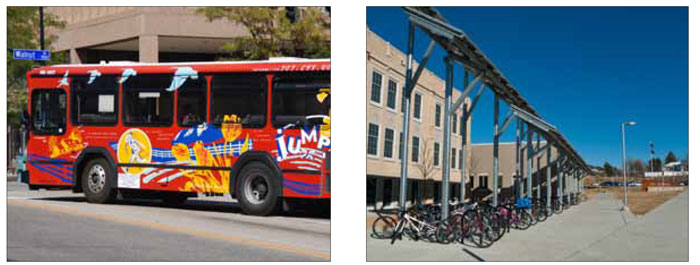 Left: Each bus has graphics designed by users of the route and includes services that are designed and timed to address neighbourhood ridership characteristics. Right: GO Boulder has taken a holistic approach to promote a shift from single-occupant vehicle use by encouraging more active modes of transportation such as walking and cycling.