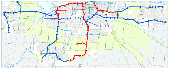 The City of Ottawa Rapid Transit Network identifying light rail (red) and bus rapid transit (blue) corridors and stations. Target areas for intensification with density targets were established around key transit nodes in order to support the transit system.