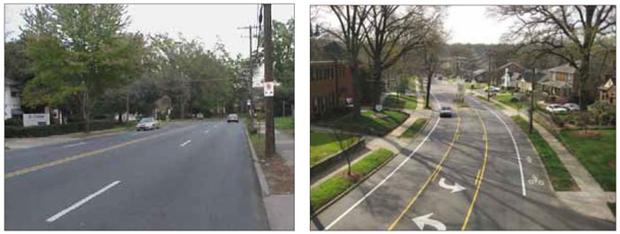 Left: An image of the pre-construction, auto-oriented street. Right: The street post-construction has been designed to calm traffic and support higher levels of pedestrians and cyclists.