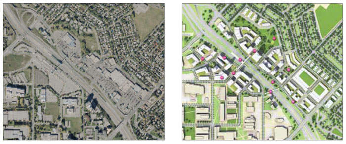 Left: The existing transit station area is defined by large areas of surface parking and auto-oriented uses. Right: The plan for intensification included a new walkable street and block pattern and open space network that helped to enhance connections to adjacent neighbourhoods and employment uses.