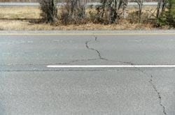 Photo of cracks in highway