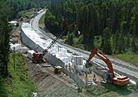 Photo of the construction of the new McKellar Creek road structure