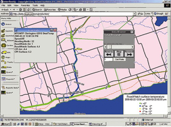 Screen capture of the web-base mapping program