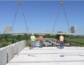Highway 401/Mull Road Underpass Pre-cast full-depth full-width deck-panels.
