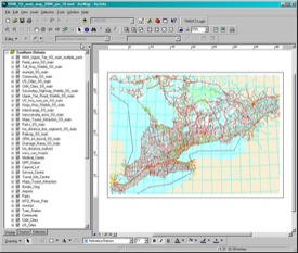 This is a picture of the Southern Ontario map in ArcGIS 9.2