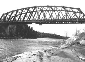 The Sioux Narrows Bridge, circa 1936.