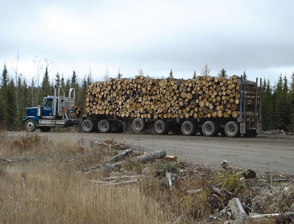 A typical vehicle travelling on highways in northern Ontario, carrying a heavy load