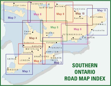 Southern Ontario Road Map Index