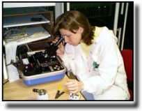 Photo of woman looking into microscope