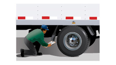 This illustration depicts a licensed motor vehicle inspection mechanic checking a truck for compliance with performance standards.