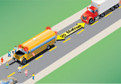 the required stopping distance on a two-way road for vehicles coming up behind a school bus with lights flashing
