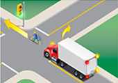 a cyclist proceeding through intersection when light turns green and vehicle turning right