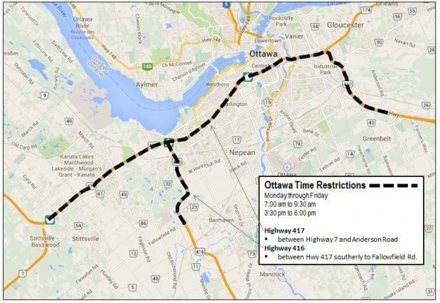 Map illustrating the areas affected by the Ottawa Monday to Friday time-of-day restrictions.