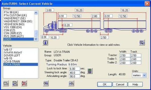 LCV A-Train route input data for the computer simulated turning templates.