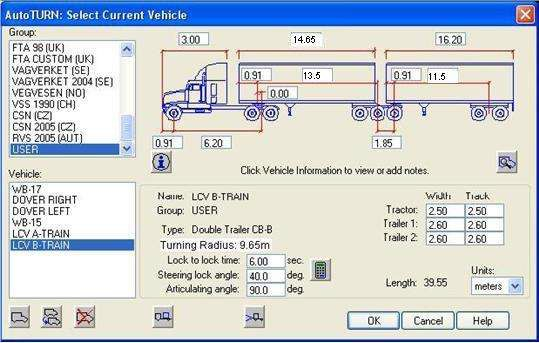 LCV B-Train route input data for the computer simulated turning templates.