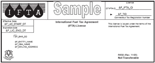 Sample International Fuel Tax Agreement (IFTA) License