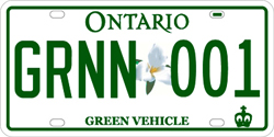 special green licence plate for eligible vehicles