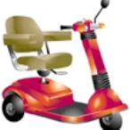 Illustration of a motorized wheelchair