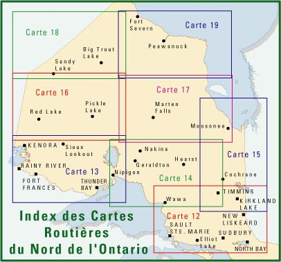 Index des cartes du Nord de l'Ontario