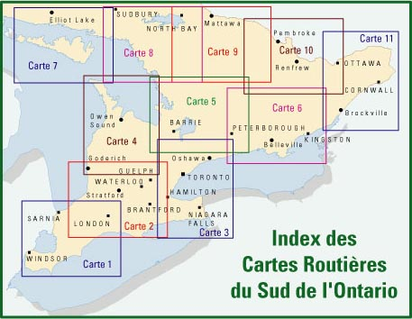 Index des cartes du Sud de l'Ontario