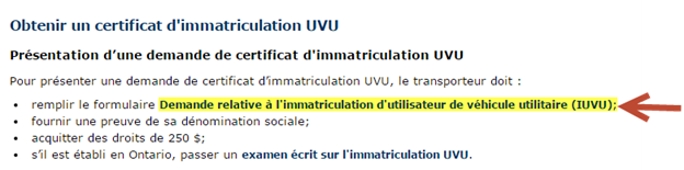 Title: d'immatriculation UVU - Description: Copie d'écran de la page Web comportant la demande d'immatriculation UVU