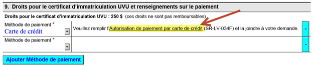 Title: d'immatriculation UVU - Description: Image de la section Paiement de la demande d'immatriculation UVU
