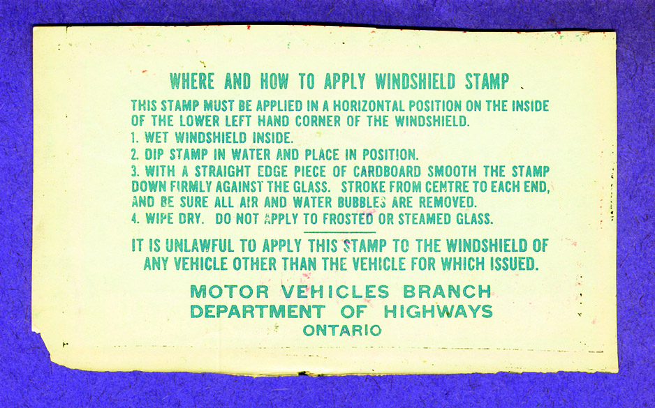 Windshield stamp for registered vehicles, 1944. <br> Image from MTO's collection.