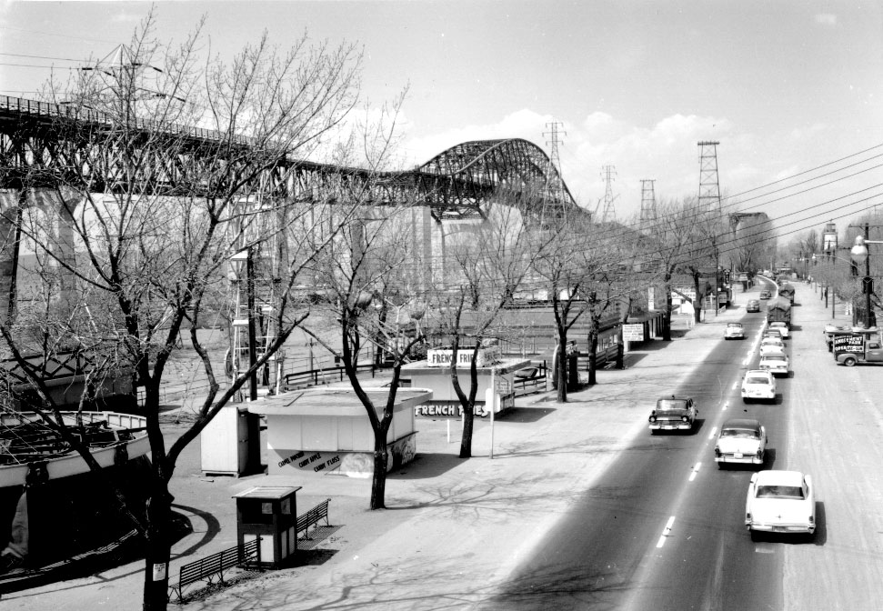 Side view of the Burlington Bay James N. Allan Skyway, 1958. <br> Image from MTO's collection.