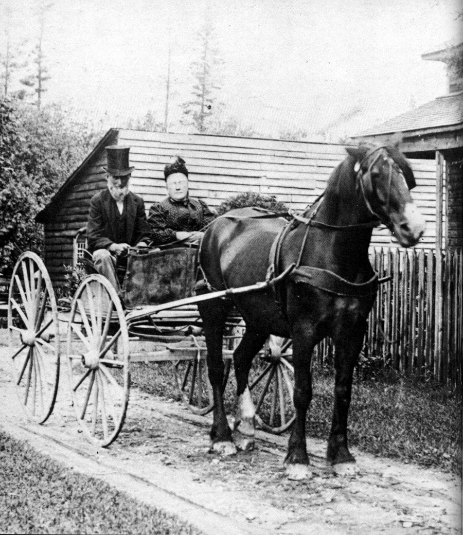 A couple going to Markham in a horse-drawn carriage, date unknown. <br> Image from MTO's collection.