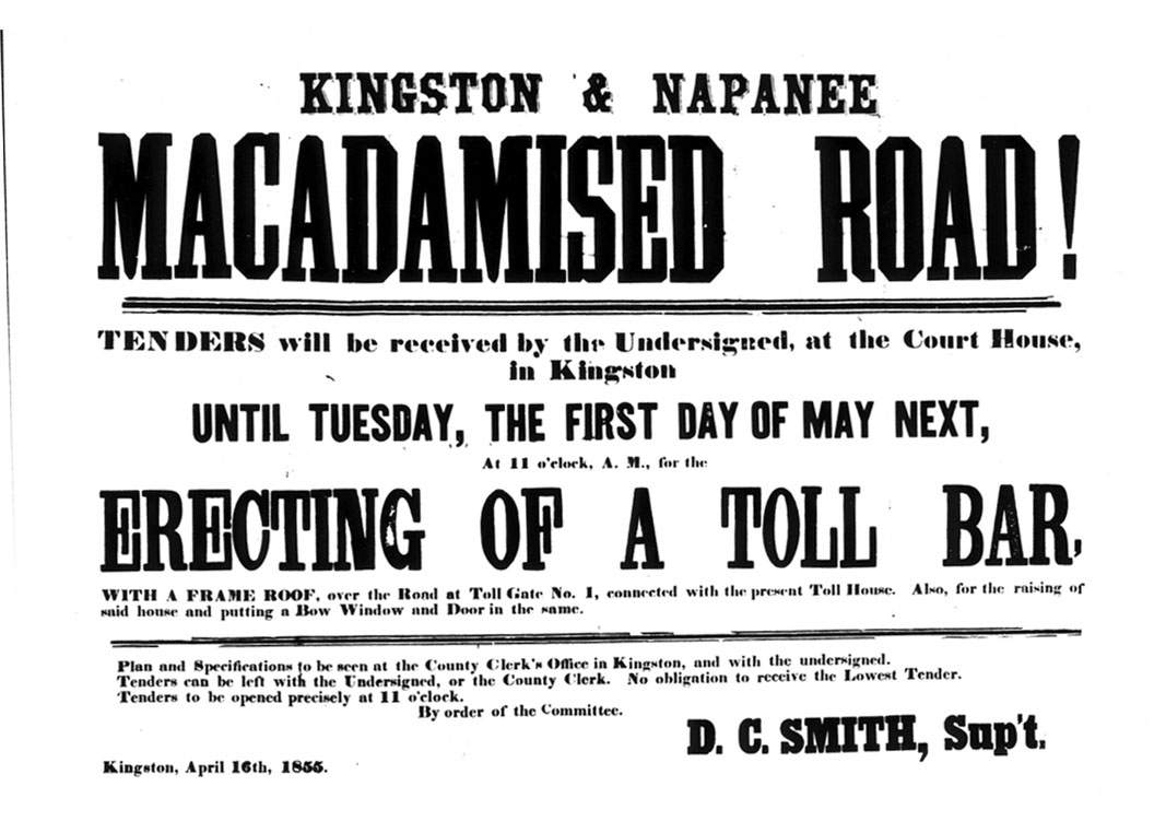 An advertisement about the Kingston and Napanee macadamised road, 1855. <br> Image from MTO's collection.