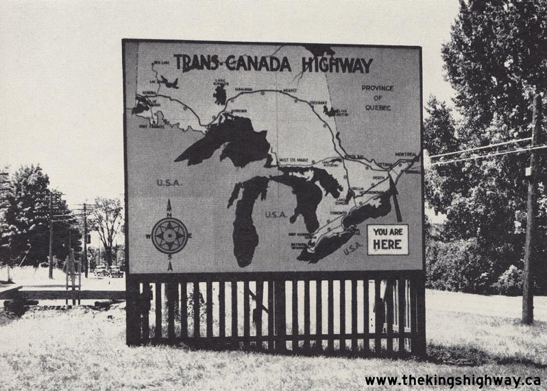 Trans-Canada Highway sign near Ottawa, 1950. <br> Image from MTO's collection.